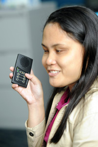 Woman with audio Bible